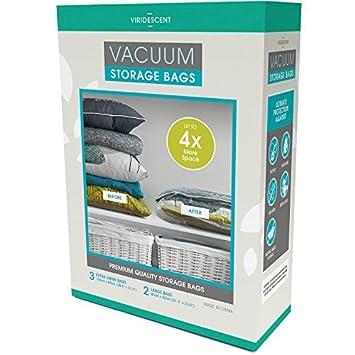 Bolsas para almacenar al vacío; ahorro de espacio más fuerte, de mayor calidad, 110 MICRONES, pack de 5 (Grandes y XL). ¡Simplifican el ahorro de ...