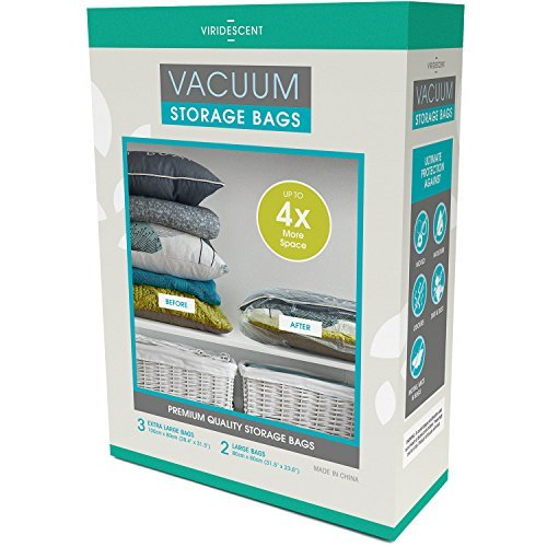 Vacuum Storage Bags: 110 MICRON (35% Thicker) Stronger Space Savers; 5pack...