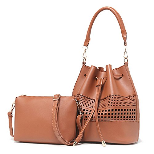 SIFINI - Bolso estilo cartera de Piel Sintética para mujer marrón