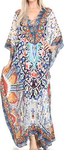 Sakkas SS1690 KF2020903LAT - LongKaftan Georgettina Ligthweight Printed Long Caftan Dress/Cover Up - Blue/Orange/Navy -OS