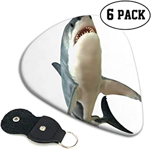 Emvency 6 Packs Celluloid Guitar Picks Great White Shark Body Is Unique Guitar Gift for Acoustic Electric and Bass Guitars medium thickness (0.71mm)