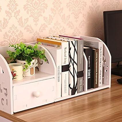 Home-Neat 2-Tier Cut-Out DIY Scaffale Desktop Storage Organizer Scaffale rack con un cassetto per la casa di casa di cucina Camera da bagno della stanza da bagno