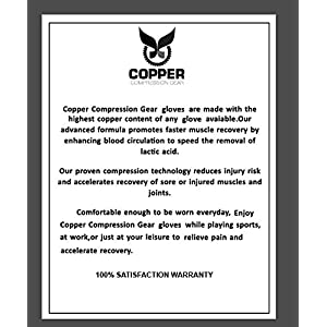 Arthritis Gloves by Copper Compression Gear - GUARANTEED To Speed Up Recovery & Relieve Symptoms of Arthritis, RSI, Tendonitis & More! (Pair of Gloves)