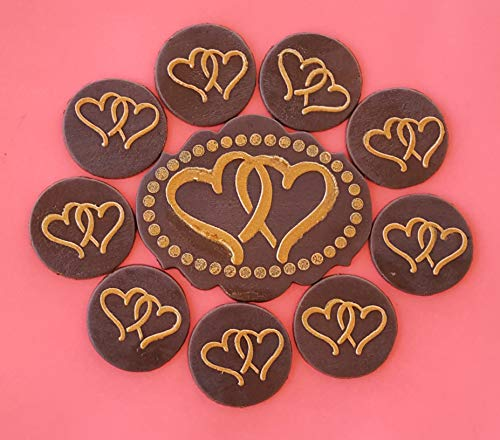 13 PC Edible Gold Design Intertwine Heart Dark Chocolate Candy Topper -Vegan Gluten-Free Nut and Dairy Free ()