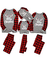 Matching Family Pajamas Sets Christmas PJ's with Letter Printed Long Sleeve Tee and Red Plaid Pants Loungewear