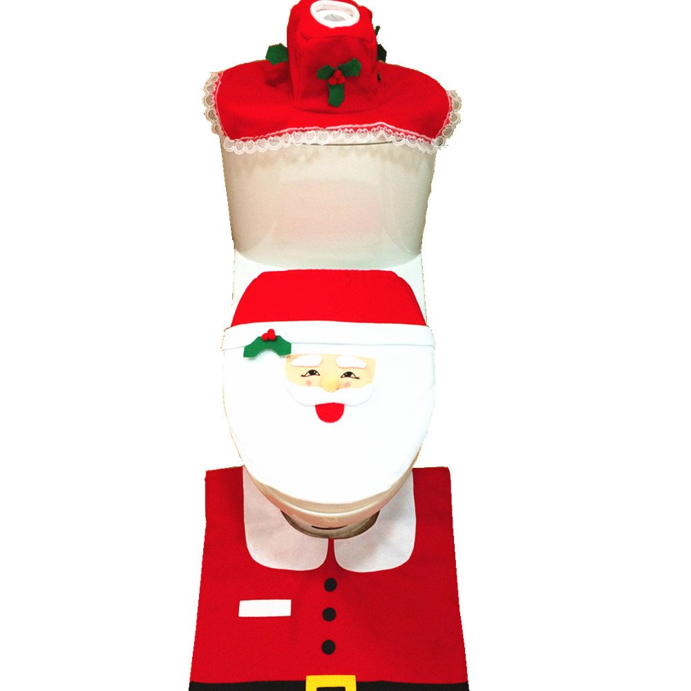Amazon EIALA Christmas Decoration Santa Toilet Seat Cover Rug Tissue Box Bathroom Set Gift Red Home Kitchen