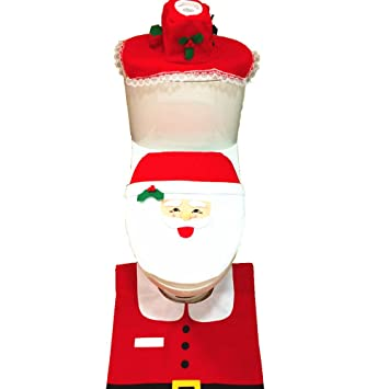 EIALA Christmas Decoration Santa Toilet Seat Cover Rug Tissue Box Bathroom Set Gift