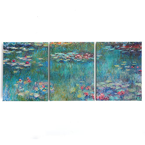 28x60 Inch - Water Lily 3 Panels Giclee Canvas Prints By Monet Famous Oil Paintings Replica Canvas Print Wall Art Decor Printed For Living Room - Monet Canvas Prints