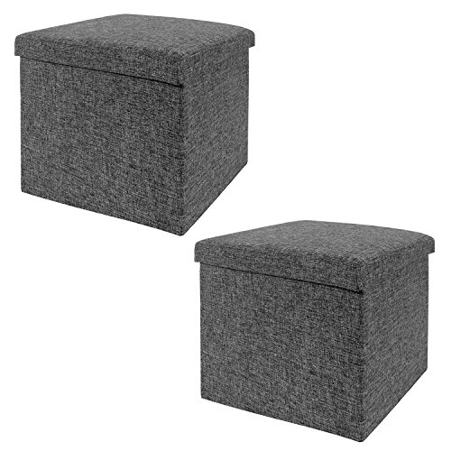 "Seville Classics WEB291 15.7"" Foldable Storage Ottoman (Set of 2) Footrest Toy Box Coffee Table Stools, 2-Pack, Charcoal Gray"