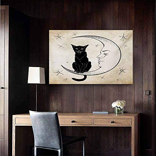 duommhome Moon Light Luxury American Oil Painting Black Cat Sitting on White Crescent Moon Contrasting Facial Expressions Feline Home and Everything 20