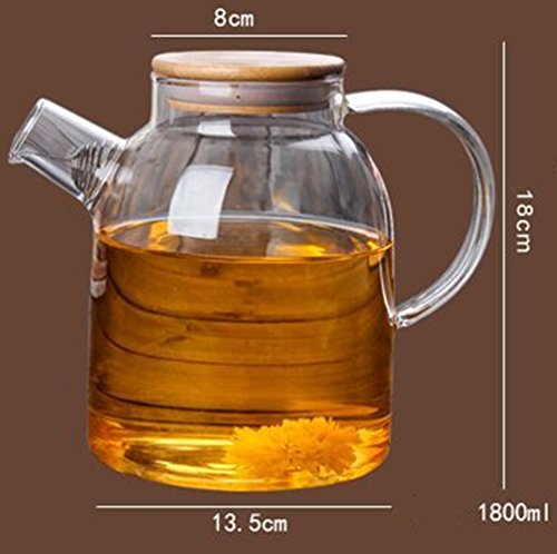 Emoyi 60 ounce glass kettle pitcher heat resistant borosilicate glass stove top safe - Heat resistant glass pitcher ...