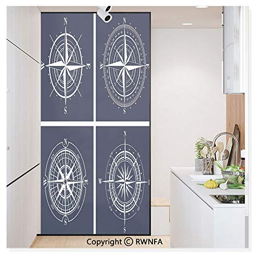 """RWN Film No Glue Static Cling Glass Sticker Decorative,Set of White Compasses with Navy Blue Background Navigation Sailing Themed Art 17.7"""" x 59.8"""" for Home&Office,Navy Blue White"""