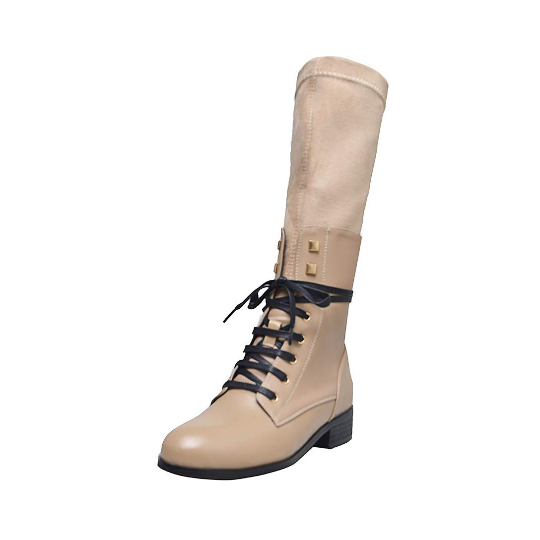 Beige MAYPIE Womens Toant  Leather lace-up Mid-Calf Boots