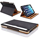 MOFRED® Black & Tan Apple iPad 2 / iPad 3 / iPad 4 Leather Case-MOFRED®- Executive Multi Function Leather Standby Case for Apple New iPad 4 (Retina Display) / iPad 3 / iPad 2 with Built-in magnet for Sleep & Awake Feature