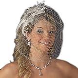 Olga Women's Vintage Couture Feather Wedding Bridal Clip with Birdcage Veil - White