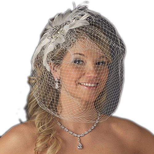 Olga Women's Vintage Couture Feather Wedding Bridal Clip with Birdcage Veil - White by Elegance by Carbonneau