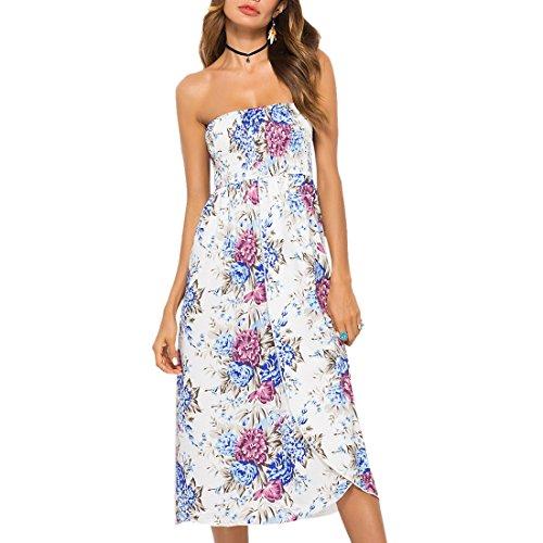 QIYUN.Z Frauen Böhmischen Lässig Floral Bedruckt Dehnbare Taille Hohe Split Röcke Aprikose