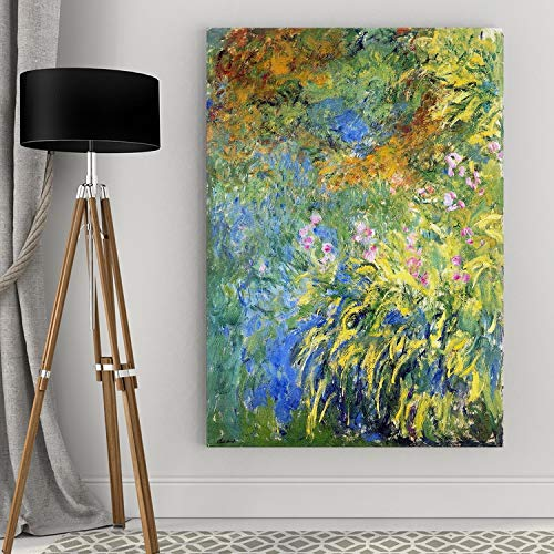 WEXFORD HOME Claude Monet 'Irises-by-The-Pond' Gallery Wrapped Canvas Wall Art, 24x36, Multicolor ()