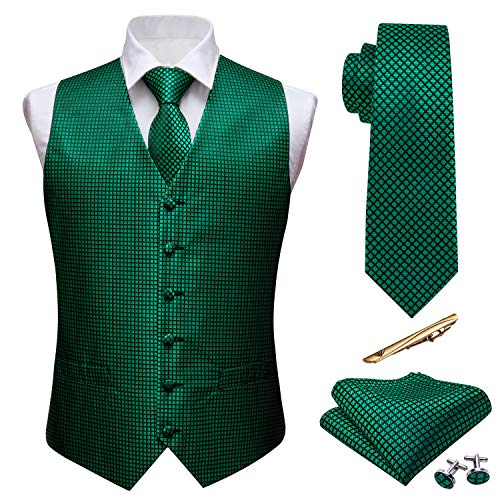 (Barry.Wang Wedding Vest Waistcoat Silk Plaid Necktie Handkerchief Cufflink Formal Set Casual Groomsmen Emerald Green)