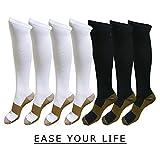 7 Pack Copper Knee High Compression Socks For Men & Women - Best For Running,Athletic,Medical,Pregnancy and Travel -15-20mmHg (S/M, Black&White)
