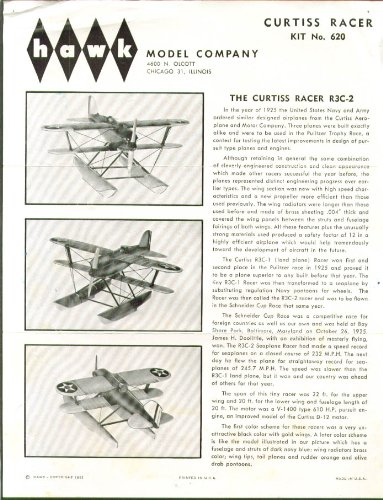 Curtiss R3C-2 Racer Hawk Model Kit Instructions 1961. - Curtiss Racer