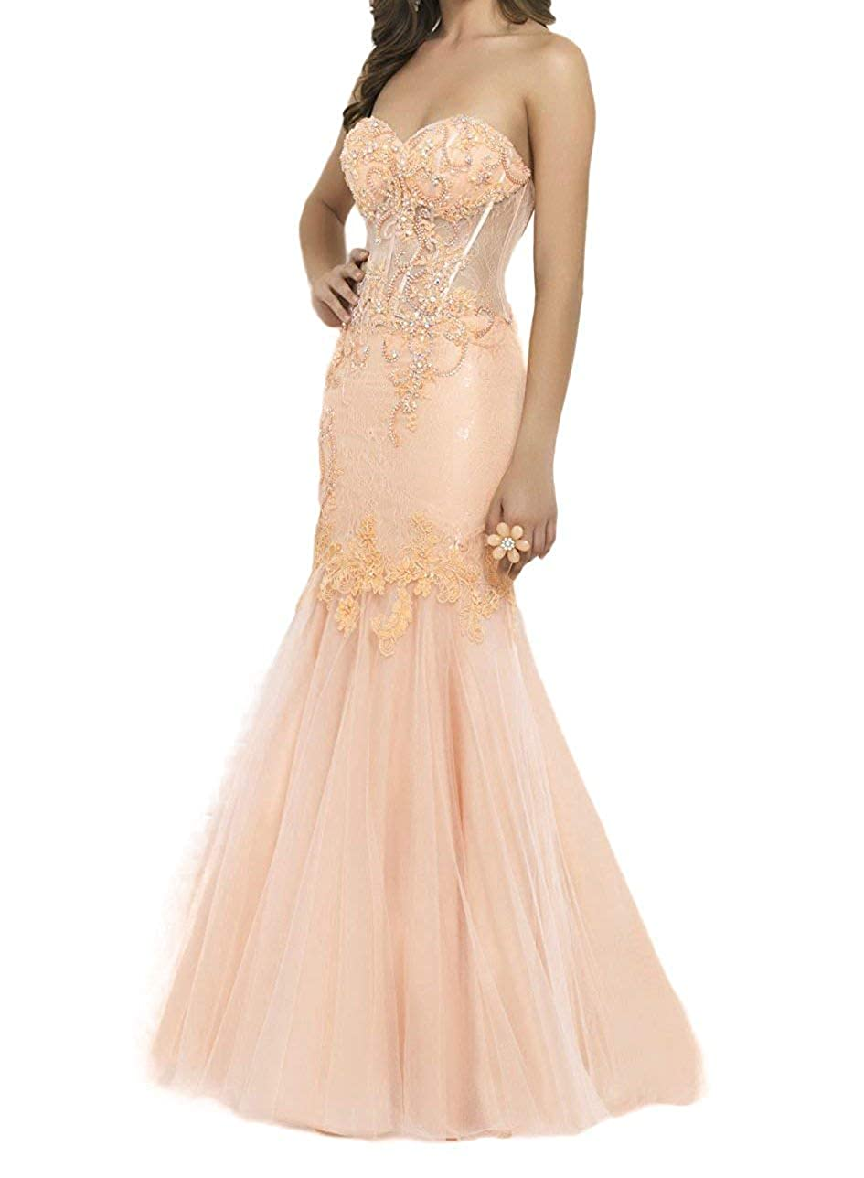 Peach PromQueen Women's Strapless Prom Dress Applique Illusion Pageant Party Dress Beaded Mermaid Homecoming Gown