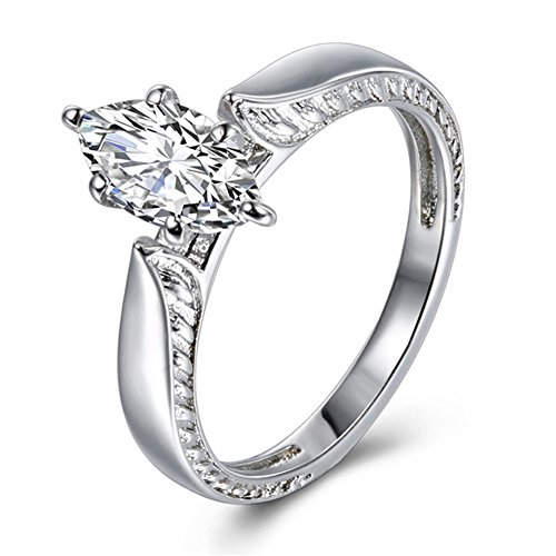 TEMEGO Vintage Marquise CZ Solitaire Engagement Ring for Women,10k White Gold Wedding Band, Size 9 ()