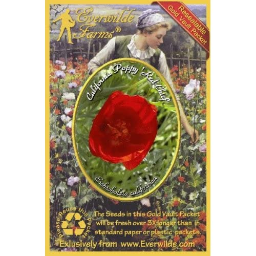 1000 Red Chief California Poppy Wildflower Seeds Everwilde Farms Mylar Packet
