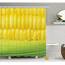 Ambesonne Yellow Decor Shower Curtain Set by, Corn Cob Between Green Leaves Delicious Breakfast Natural Meal Vegetable Theme Art, Bathroom Accessories, 84 Inches Extralong, Yellow Green
