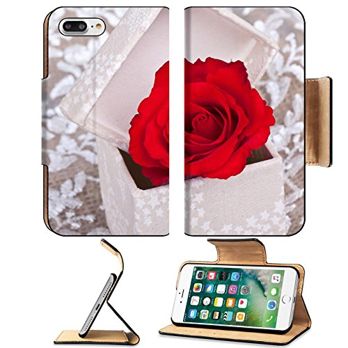 Luxlady Premium Apple iPhone 7 Plus Flip Pu Leather Wallet Case iPhone7 Plus 25636188 one red rose in box on withe lace