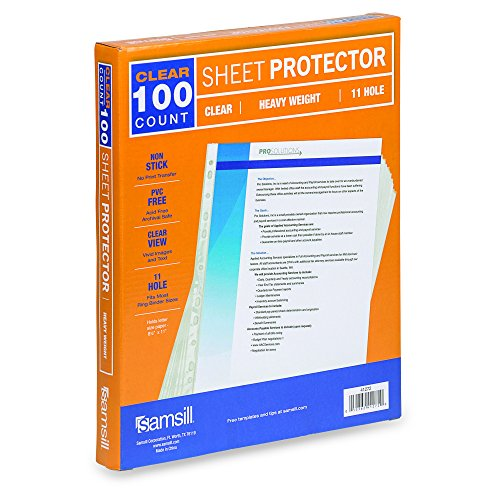 Samsill 11 Hole Sheet Protectors, Heavyweight Clear Plastic Page Protectors, Box of 100, Acid Free / Archival Safe, Top Load 8.5 x 11 Inches