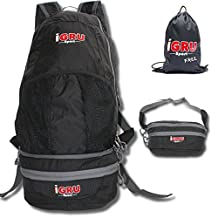 Foldable Hiking Daypack Backpack Waist Bag Convertible - Waterproof IGRU Sport Supremacy 94 with FREE Laundry Sackpack - Men or Women - Mini Compact & Packable Size 20 x9.5x4 Inch & Light 10oz Black
