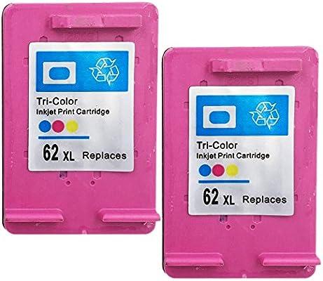 yatunink 2 Pack muestra precisa de nivel de tinta cartucho de tinta para HP 62 X L Tri-color de alto rendimiento (C2P07AE): Amazon.es: Oficina y papelería