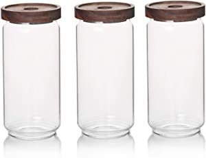 Sweejar 33 OZ Glass Food Storage Jar with Lid (set of 3),Airtight Canisters for Bathroom,Kitchen Container with Bamboo Cover for Serving Tea, Coffee, Spice and More