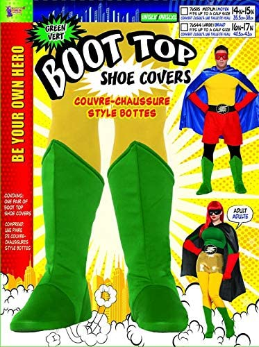 Adult Superhero Shoe Covers Boot Tops Black Unisex Costume Accessory MED