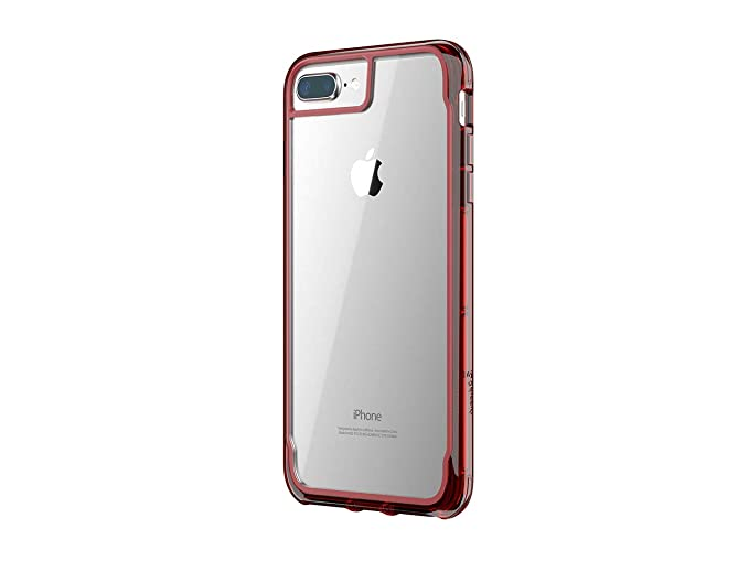 huge selection of 865ef 8af76 Griffin Survivor Clear Case for iPhone 8 Plus with Shock-Absorbing Bumper  and Non-Yellowing Back Shell - Dark Red