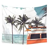 Hawaiian Decor Tapestry by Tidy Decor, Hawaii Colorful Bus Palm Tree Wavy Ocean Surface Scene, Dorm Wall Hanging for Bedroom Living Room