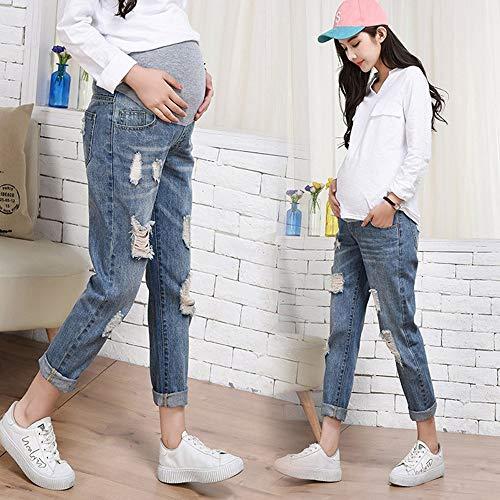 MEIBax Strappati Jeans Donna Gestante Pantaloni maternit BBrqF8Hg