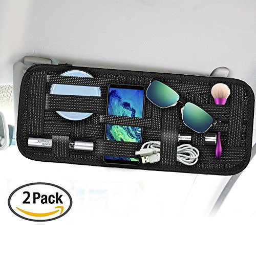 Car Sun Visor Organizer, SourceTon 2 Packs Car Visor Storage Anti-slip Elastic Woven Board for Sunglass Holder Parking Fuel Card Digital - Place Sunglasses