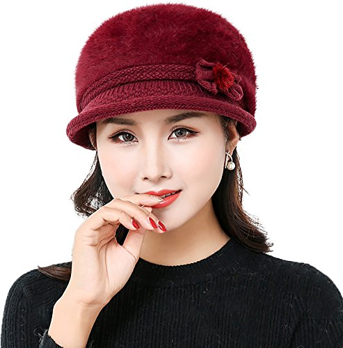 571a189cc05 Ababalaya Women s Winter Warm Faux Rabbit Fur Knitted Slouchy Cap Wool  Beanie With Visor