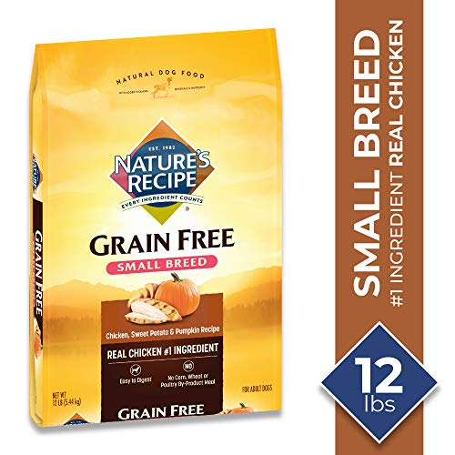 Nature's Recipe Grain Free Chicken, Sweet Potato & Pumpkin Recipe Dry Dog Food for Small Breeds, 12 Pounds, Easy to Digest ()