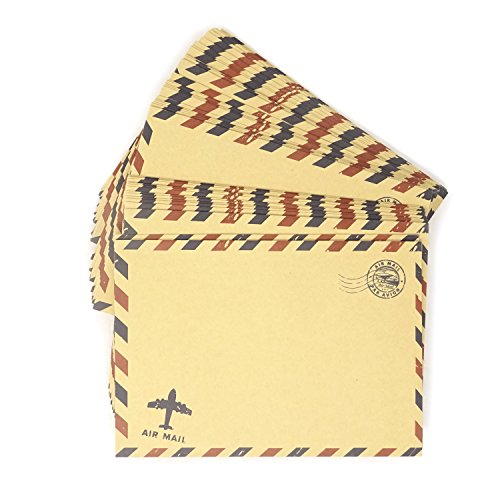 - Honbay 50PCS Airmail Vintage Kraft Paper Envelopes Invitation Letter Envelopes Airmail Stationery for Letters,Invitation Letter, Postcards,etc (Brown)