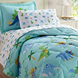 Wildkin 5 Piece Twin Bed-in-A-Bag, 100% Microfiber Bedding Set, Includes Comforter, Flat Sheet, Fitted Sheet, Pillowcase, and Embroidered Sham, Olive Kids Design – Dinosaur Land