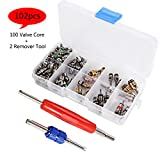 YVO Car Air Conditioning Valve Core Kit Auto AC Repair Complete Tool Box Set A/C R12 R134A Refrigeration Tire Valve Stem Cores Remover Installation Tool Assortment Set - 102PCS