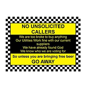 """Placa metálica de aluminio con texto en inglés """"No UNSOLICITED CALLERS 3 Funny Front Door Sign Place House Gift by MegSub"""", 6x8"""""""