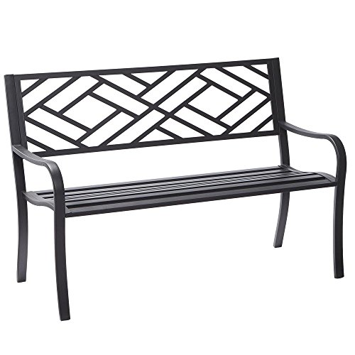 Hampton Bay Easterly Steel Black Outdoor (Curved Wooden Bench)