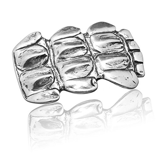 FREDERIC HERMANO Gürtelschnalle Buckle 40mm Metall Silber Geschwärzt - Buckle Shield - Dornschliesse Für Gürtel Mit 4cm Breite - Silberfarben Geschwärzt