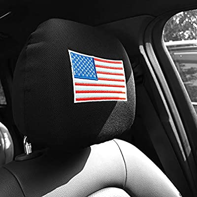 zhoubai US American Flag Headrest Covers for Cars - Stars and Stripes Head Rest Protector, 4th of July, Patriotic Decorations, Veteran's Day, Interior Auto Accessories: Automotive
