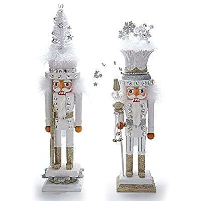Kurt Adler Hollywood 1 Set 2 Assorted White Snowflake And Tree Hat 21 Inch Christmas Nutcrackers