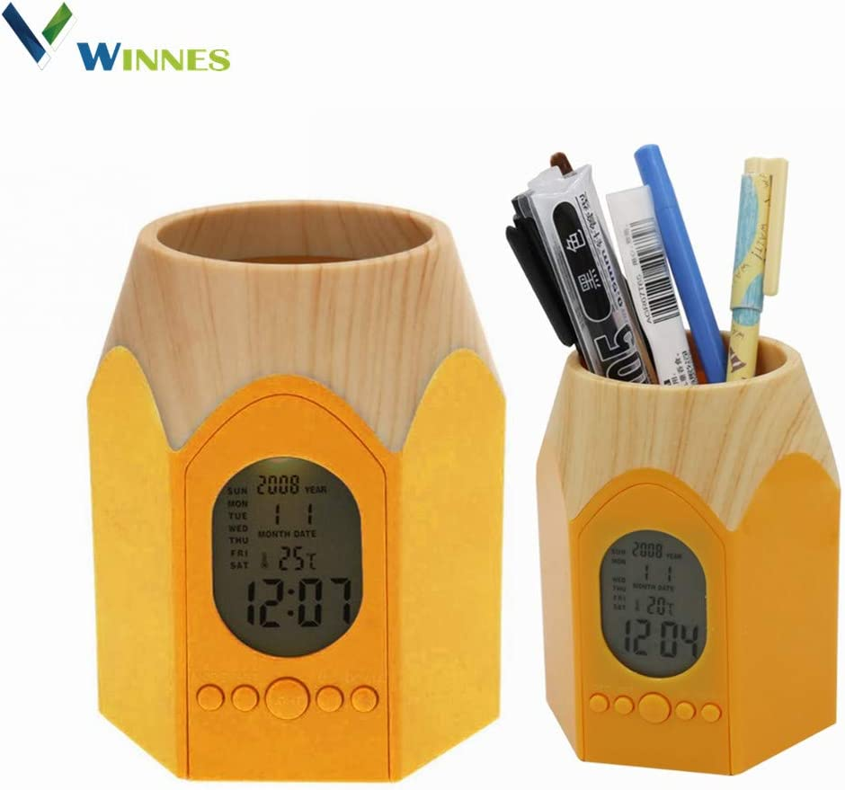 Desktop Clock Pen Pencil Holder Stylish Decor,Winnes Creative Multi-use Desk Organizer Digital Alarm Clock Displays Time/Date/Temperature Gift for Teachers,Students,Office Workers (Yellow)